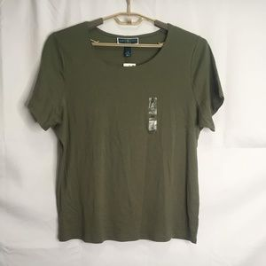 Karen Scott Army Green Short Sleeve Tee Size 1X